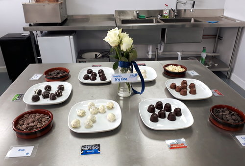 Samples of truffles and chocolates